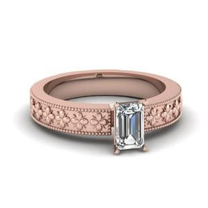 Floral Engraved Emerald Cut Solitaire Engagement Ring In 18K Rose Gold