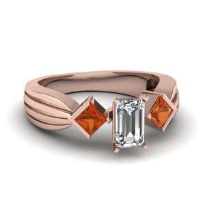 Half Bezel 3 Stone Emerald Cut Engagement Ring With Orange Sapphire In 18K Rose Gold
