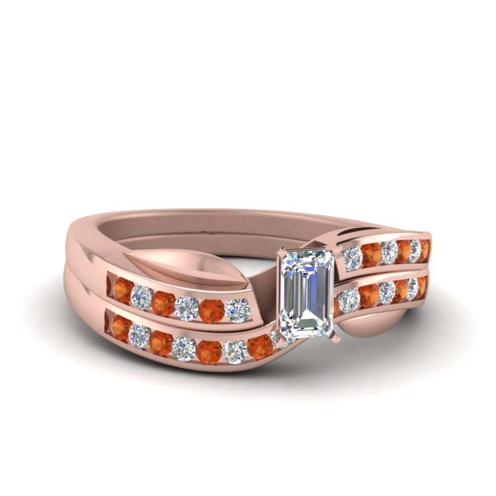 Petal Channel Set Emerald Cut Diamond Wedding Ring Set With Orange Sapphire In 14K Rose Gold