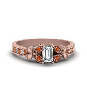Vintage Butterfly Emerald Cut Diamond Engagement Ring With Orange Sapphire In 14K Rose Gold