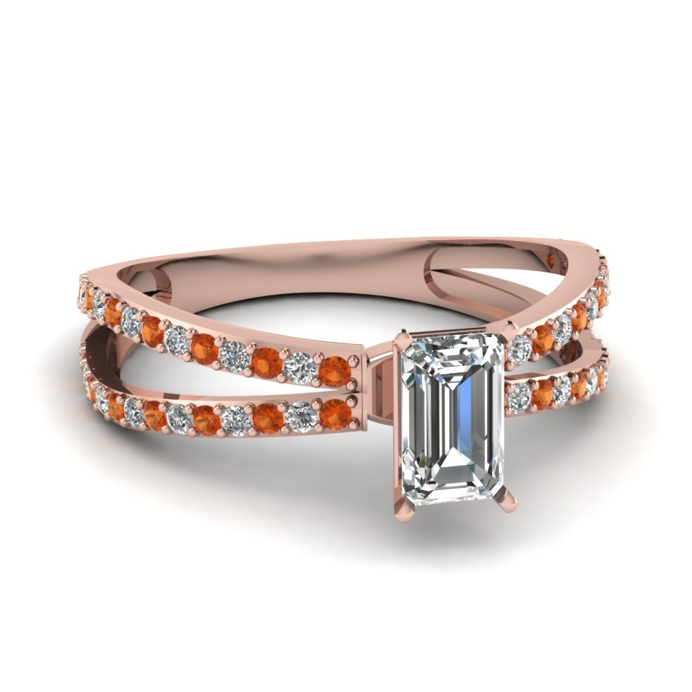 Reverse Split Shank Emerald Cut Diamond Engagement Ring With Orange Sapphire In 14K Rose Gold