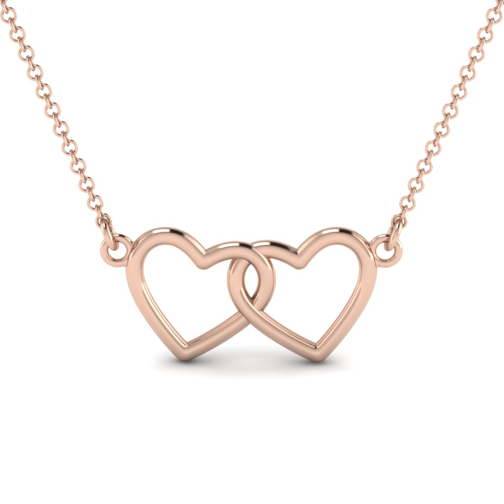 Interlinked Gold Heart Pendant Necklace