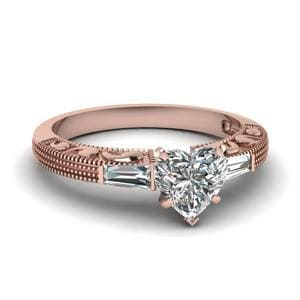 Antique Engraved 3 Stone Heart Shaped Engagement Ring In 14K Rose Gold