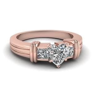 Bar 3 Stone Heart Shaped Engagement Ring In 14K Rose Gold