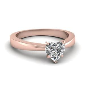 tapered traditional solitaire heart shaped ring