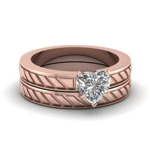 Brick Design Wedding Ring Set
