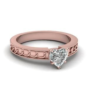Interlocked Design Heart Solitaire Engagement Ring In 14K Rose Gold