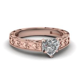 Heart Carved Solitaire Engagement Ring In 14K Rose Gold