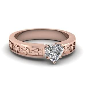 Heart Shaped Hand Engraved Flower Solitaire Ring In 14K Rose Gold