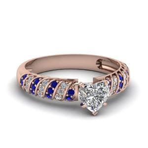 Rope Design Heart Diamond Ring With Sapphire In 14K Rose Gold