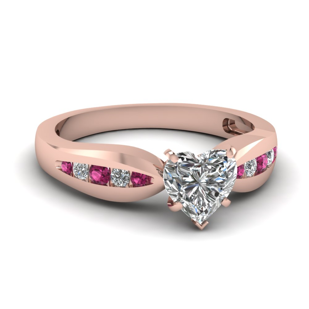 Channel Heart Diamond Bow Ring