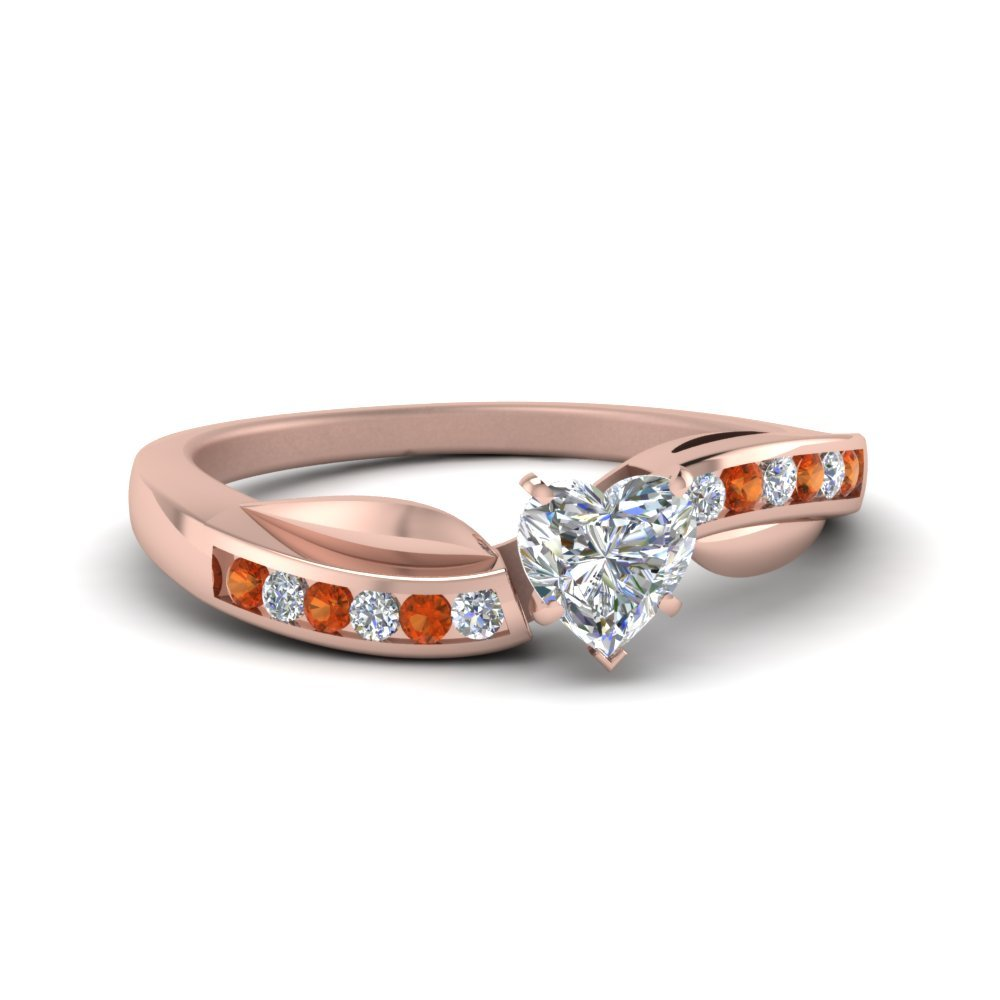 Petal Channel Set Heart Diamond Engagement Ring With Orange Sapphire In 14K Rose Gold