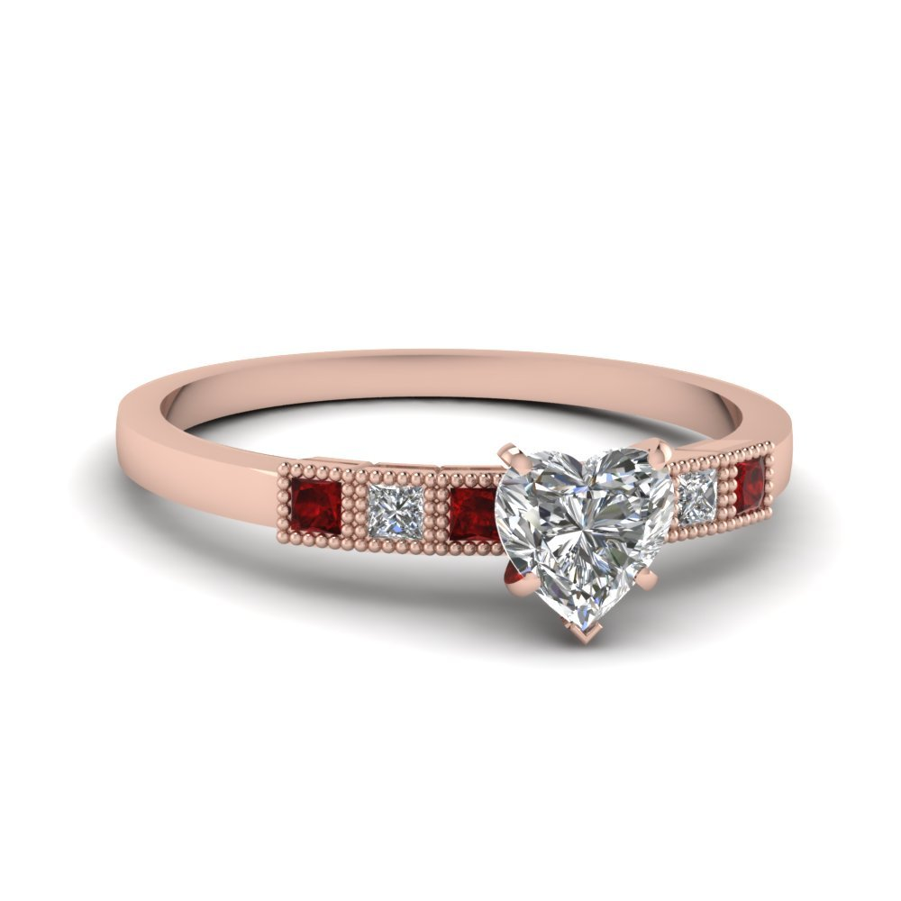 Milgrain Petite Heart Diamond Engagement Ring With Ruby In 14K Rose Gold