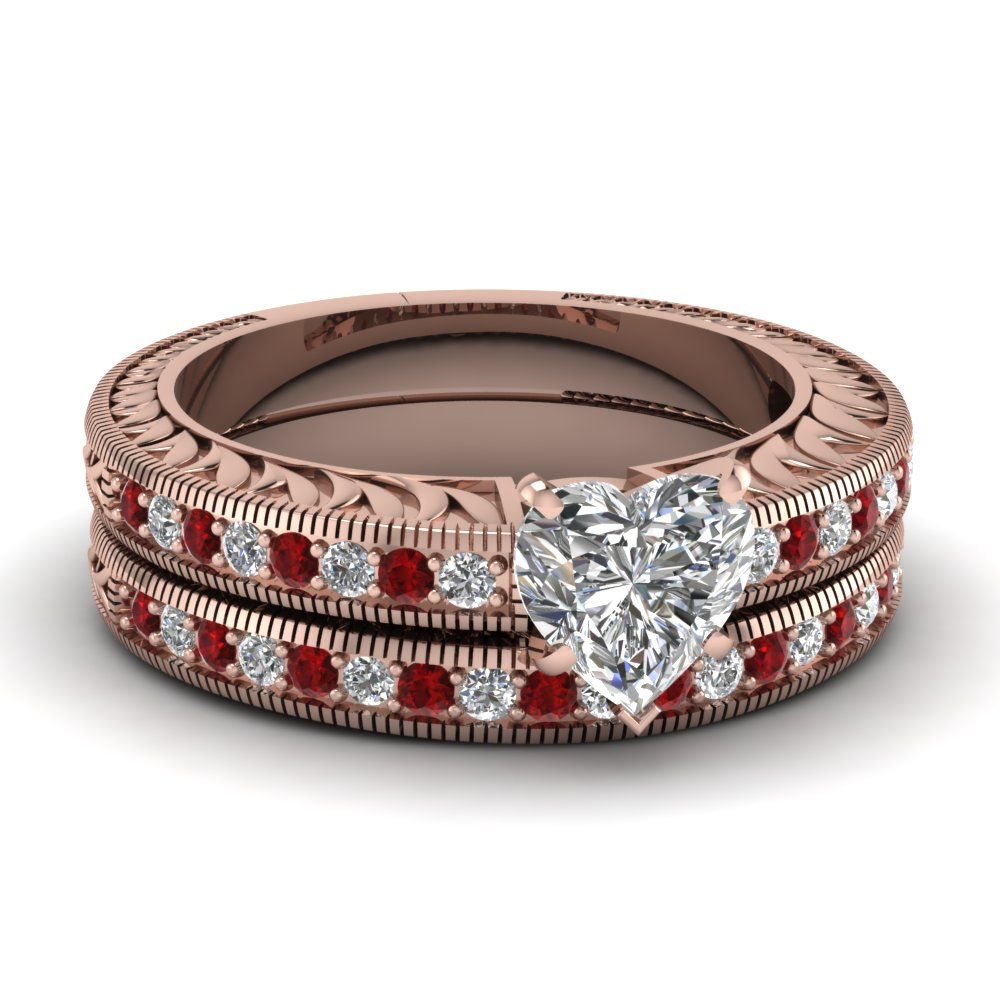 Hand Engraved Heart Shaped Vintage Wedding Ring Set With Ruby In 18K Rose Gold