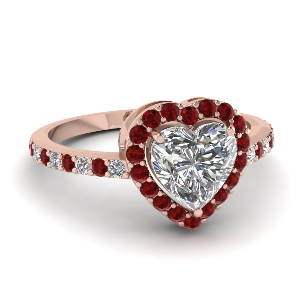 Ruby And Heart Diamond Halo Ring