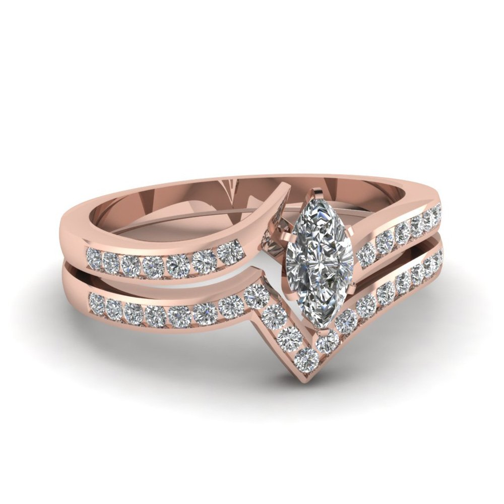 Twist Channel Marquise Diamond Wedding Set In 18K Rose Gold