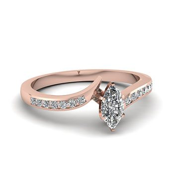 0.50 Ctw. Marquise Cut Diamond Engagement Rings