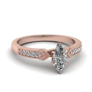 Antique Pave Marquise Diamond Ring In 14K Rose Gold