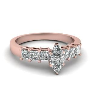 7 Stone Marquise Diamond Engagement Ring In 14K Rose Gold