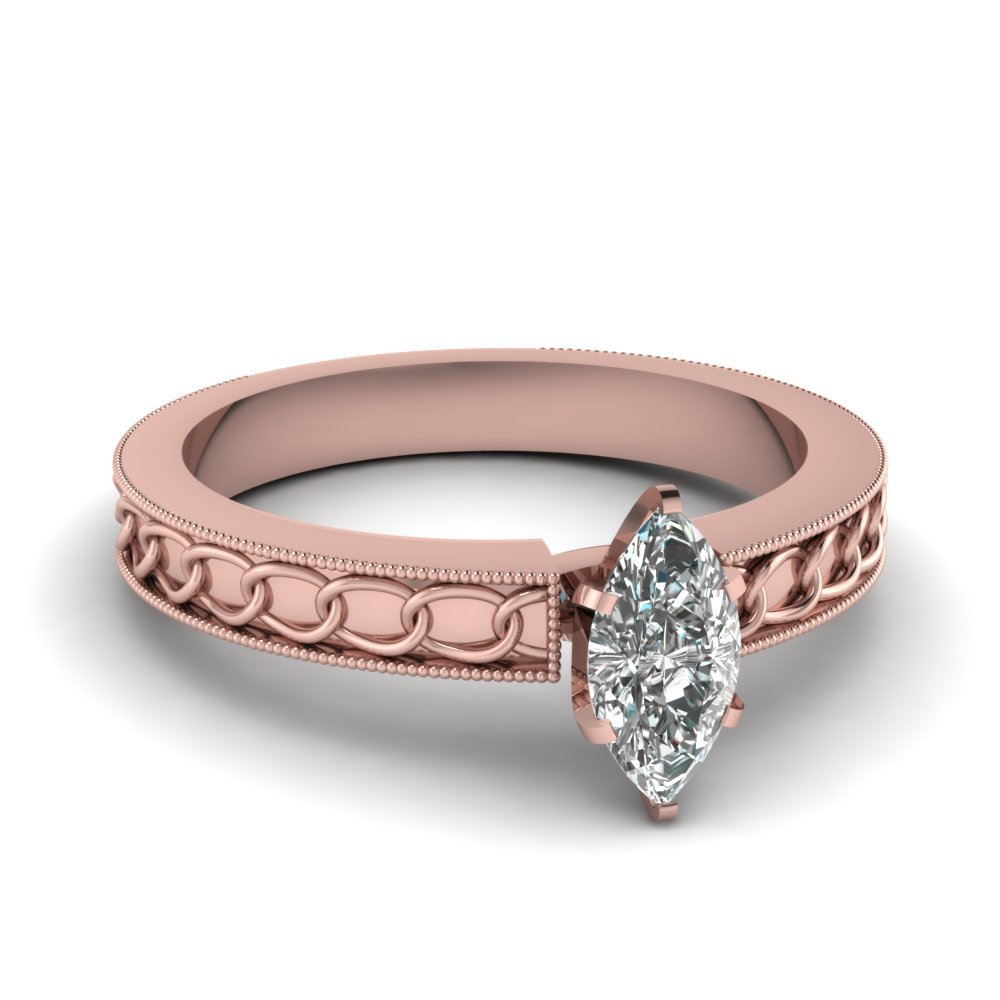 Interlocked Design Marquise Solitaire Engagement Ring In 18K Rose Gold