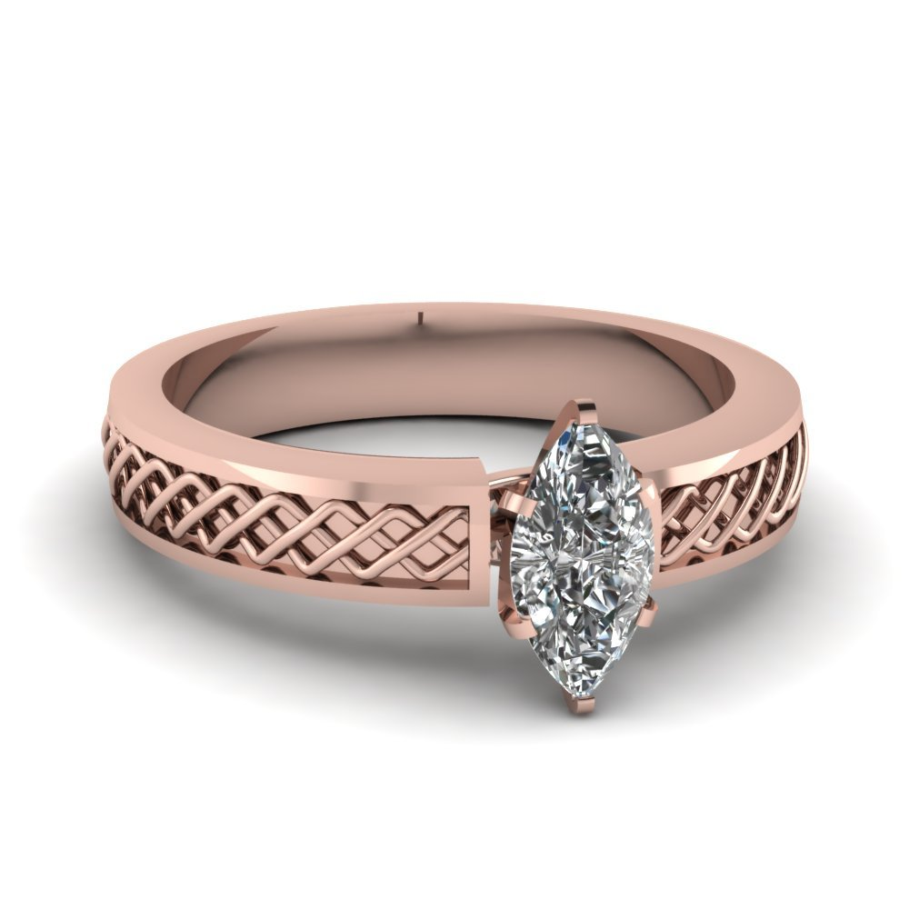 Criss Cross Marquise Cut Solitaire Engagement Ring In 18K Rose Gold