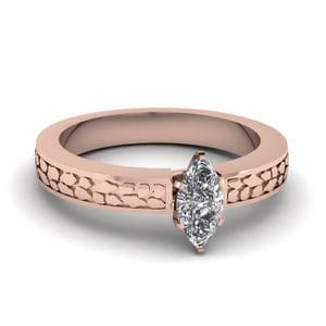 Marquise Cut Carved Solitaire Engagement Ring In 18K Rose Gold