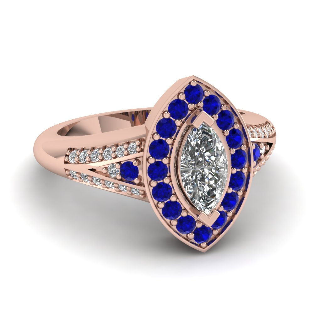 Marquise Halo Sapphire Art Deco Ring
