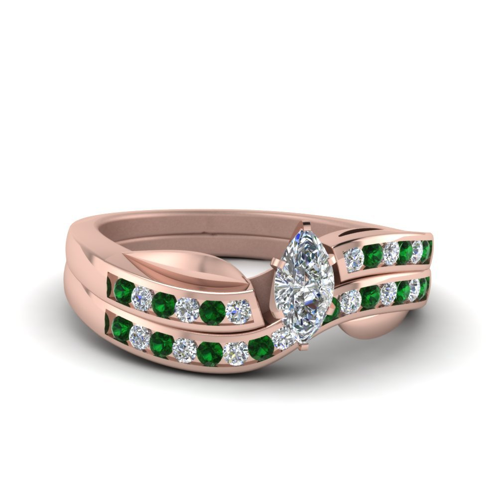 Petal Channel Set Marquise Diamond Wedding Ring Set With Emerald In 18K Rose Gold