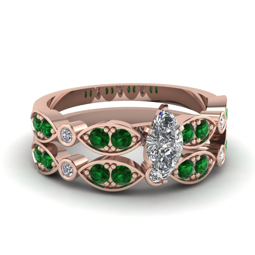 Art Deco Marquise Diamond Wedding Ring Set With Emerald In 18K Rose Gold