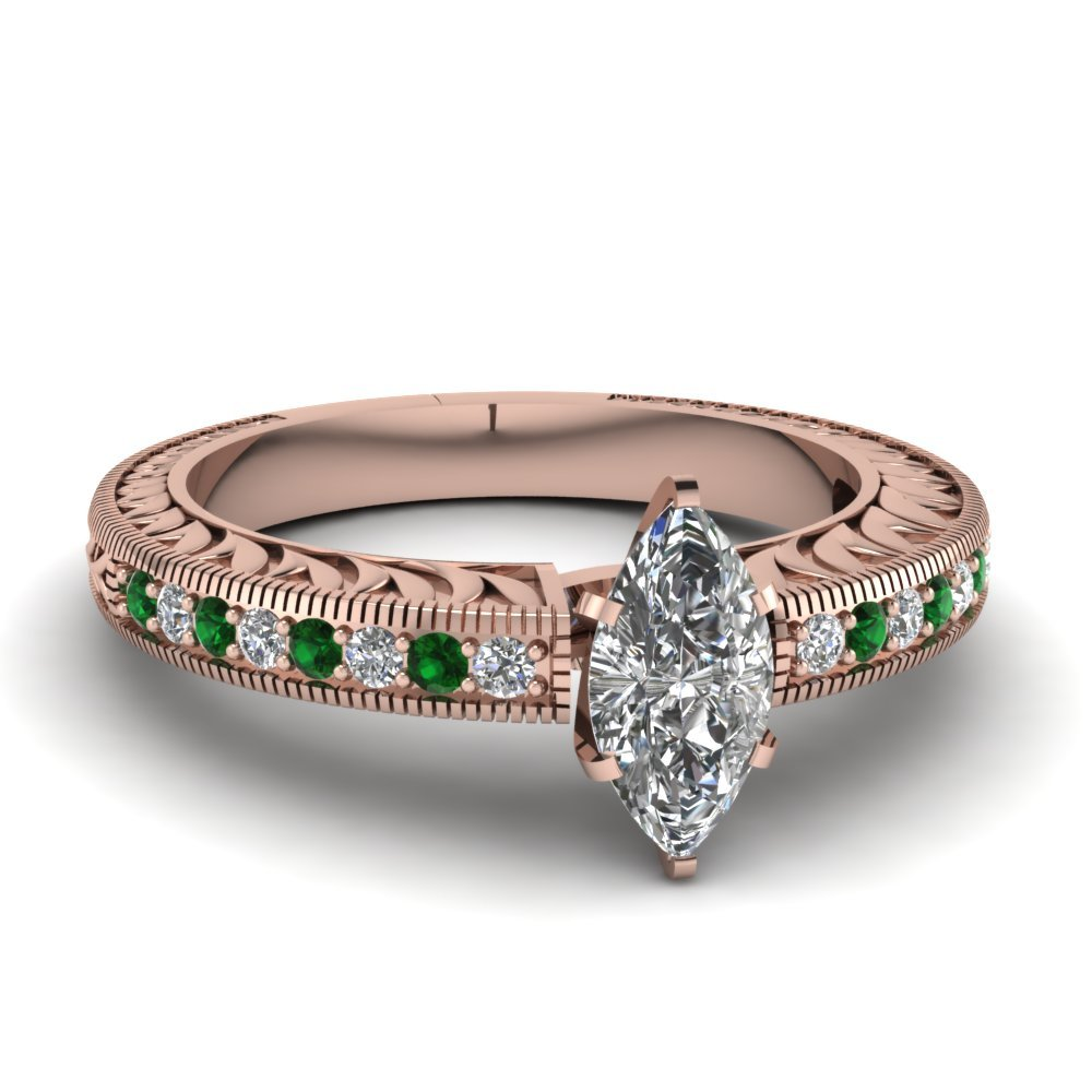 Hand Engraved Marquise Cut Vintage Engagement Ring With Emerald In 18K Rose Gold