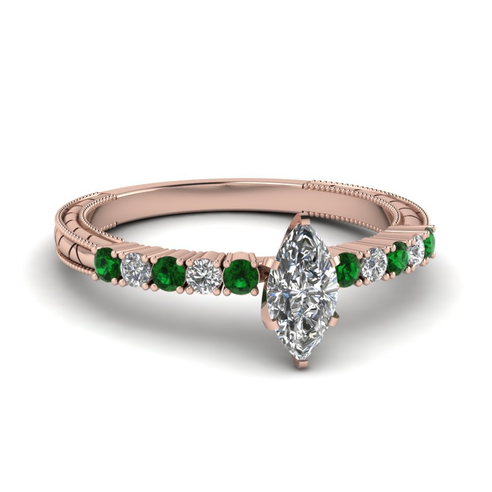 Petite Vintage Marquise Diamond Engagement Ring With Emerald In 18K Rose Gold