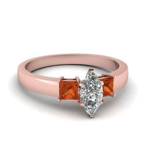 Orange Sapphire Rose Gold Ring
