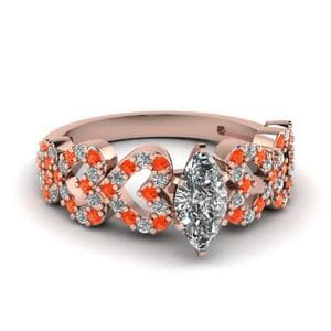 Orange Topaz Heart Design Ring