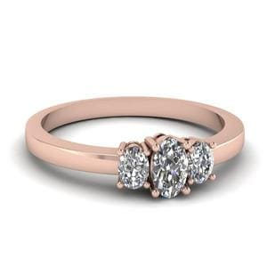 Delicate 3 Stone Diamond Engagement Ring In 14K Rose Gold