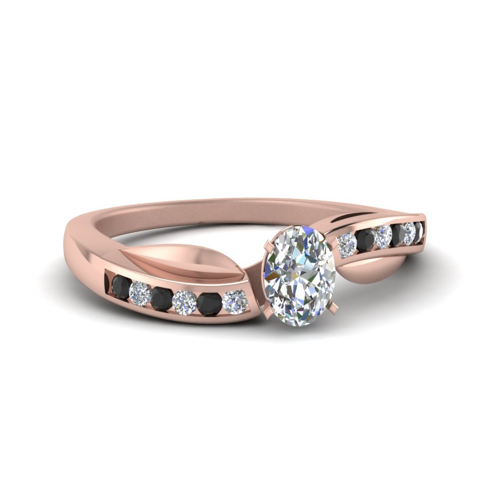 Petal Channel Set Oval Engagement Ring With Black Diamond In 18K Rose Gold