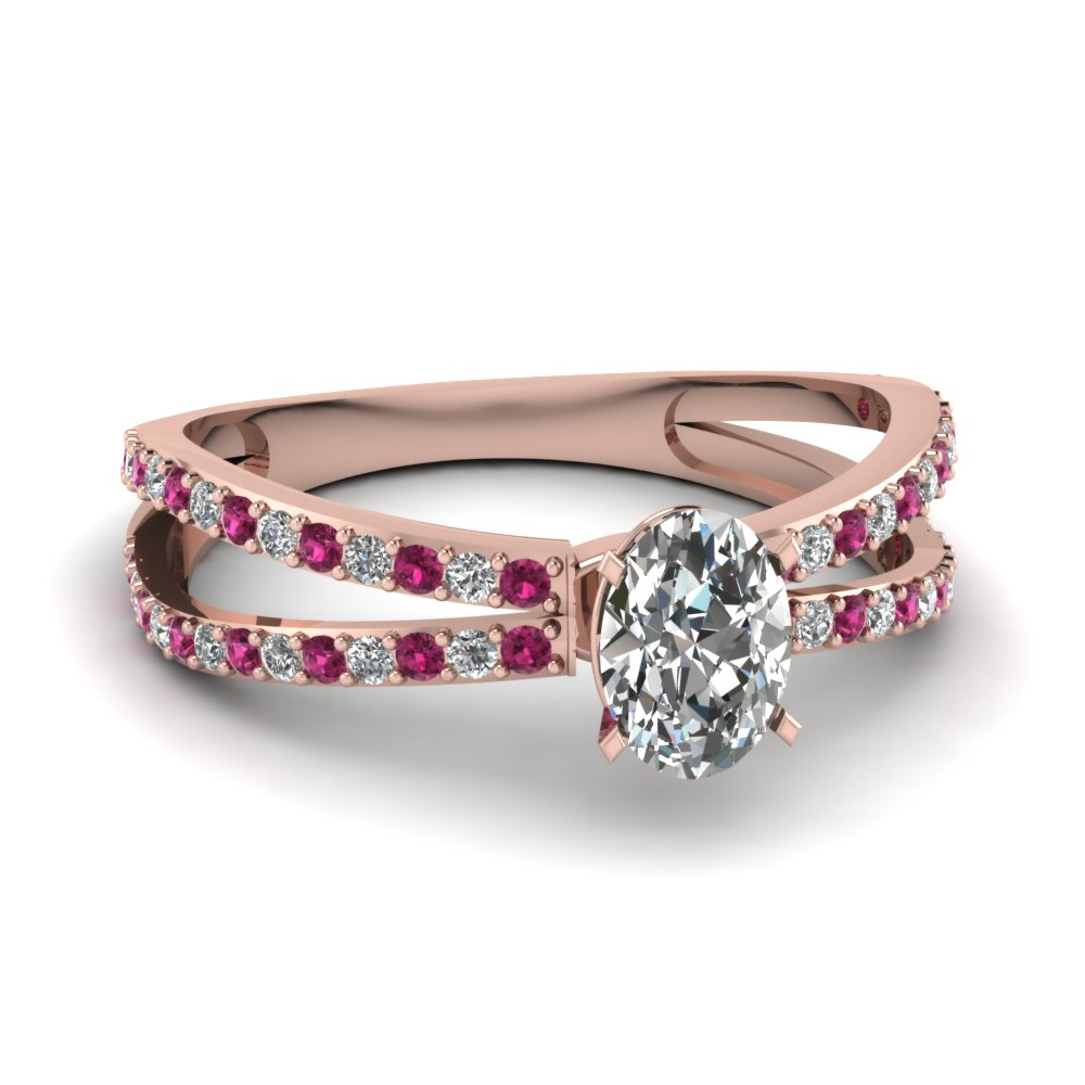 Rose Gold Split Band Pink Sapphire Engagement Ring
