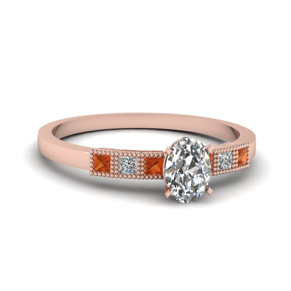Milgrain Petite Oval Diamond Engagement Ring With Orange Sapphire In 18K Rose Gold