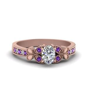 Vintage Butterfly Oval Diamond Engagement Ring With Purple Topaz In 18K Rose Gold