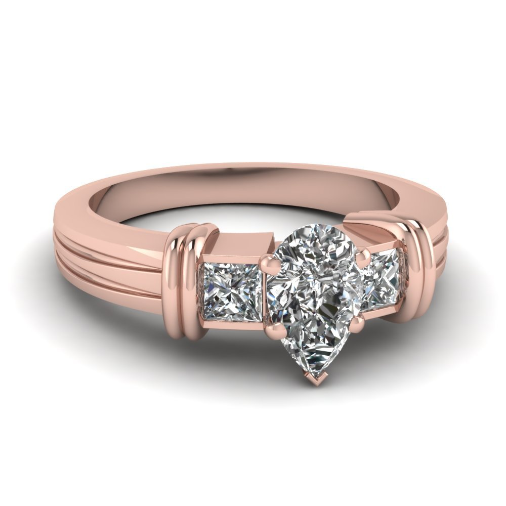 Bar 3 Stone Pear Shaped Engagement Ring In 18K Rose Gold