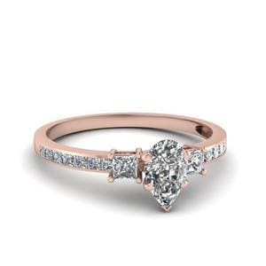 Delicate 3 Stone Pear Diamond Ring In 14K Rose Gold