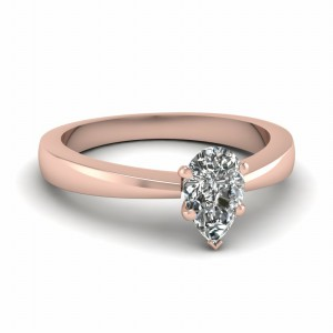 18k Rose Gold Pear Cut Ring