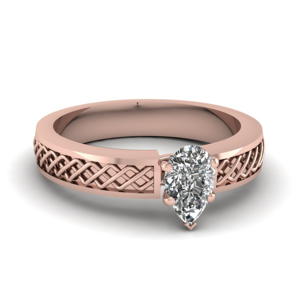 Criss Cross Pear Shaped Solitaire Engagement Ring In 14K Rose Gold