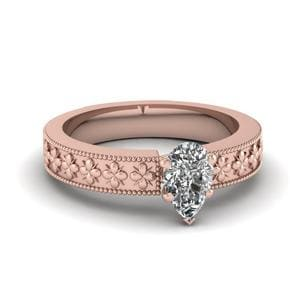 Floral Engraved Pear Shaped Solitaire Engagement Ring In 14K Rose Gold