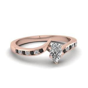 Twist Channel Pear Engagement Ring With Black Diamond In 18K Rose Gold