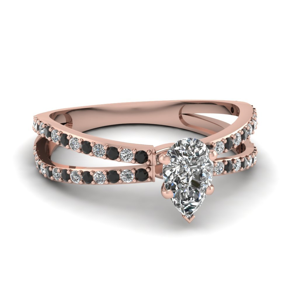 Reverse Split Shank Pear Engagement Ring With Black Diamond In 18K Rose Gold