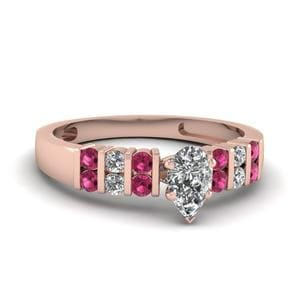 2 Row Bar Set Pear Diamond Ring With Pink Sapphire In 14K Rose Gold