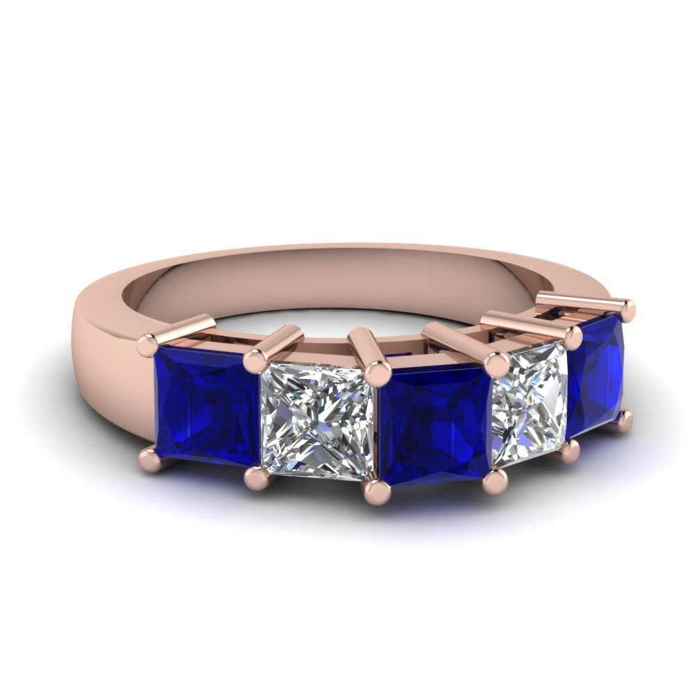 Princess Cut 5 Stone Wedding Anniversary Band With Sapphire In 14K Rose Gold