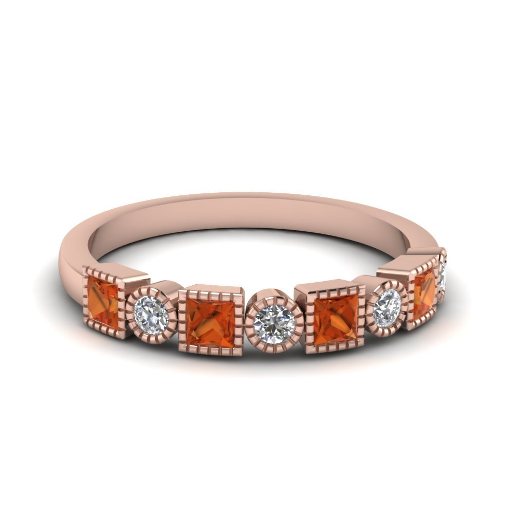 Diamond Art Deco Band With Orange Sapphire In 14K Rose Gold