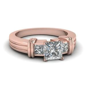 Bar 3 Stone Princess Cut Engagement Ring In 14K Rose Gold