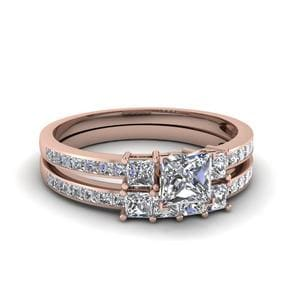 Delicate 3 Stone Princess Cut Diamond Bridal Set In 14K Rose Gold
